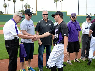 GCU Alumni Baseball Players Shaking Hands