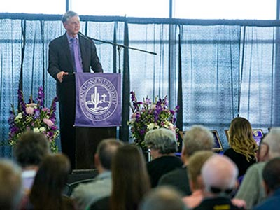 Brian Mueller giving a speech at the GCU Hall of Fame ceremony