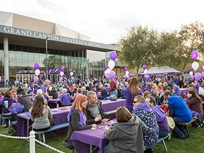 Large gathering at the GCU Homecoming Tailgate